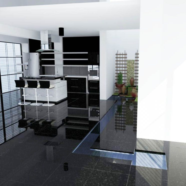living area with pond(black tiles)